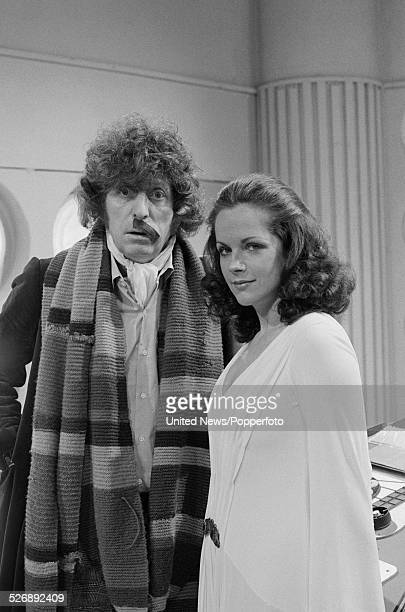 English actors Tom Baker and Mary Tamm pictured together in character as The Doctor and Romana on the set of the BBC science fiction television...