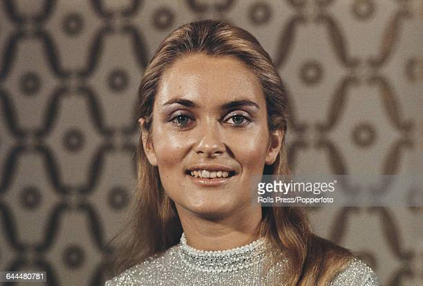 English actress Alexandra Bastedo pictured at an arts function in London in November 1970