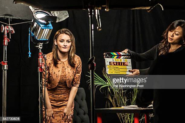 "English Actress Alison Wright delivers a monologue called Gated"" in a theater in New York City. The piece that centers on a broker interviewing a..."