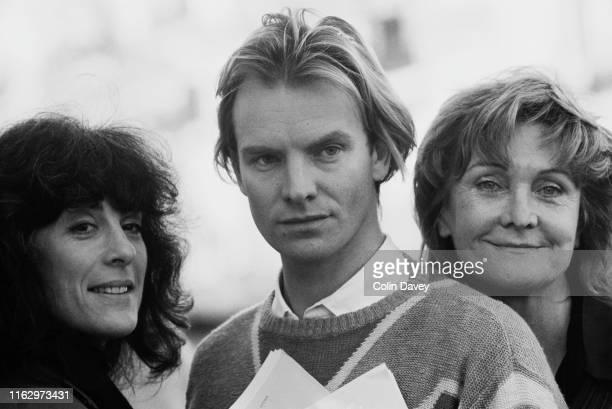 English actress and author Eleanor Bron English musician and actor Sting and English actress and author Sheila Hancock UK 26th November 1984