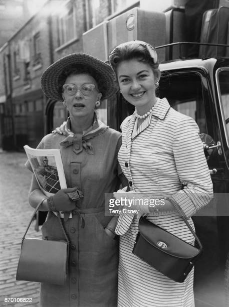 English actress and comedian Thora Hird and her daughter actress Janette Scott leave Leinster Mews in London for London Airport 25th August 1955 They...