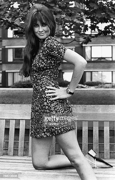 English actress and model Caroline Munro in a floral minidress 10th September 1970
