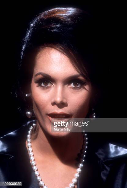 English actress and model, perhaps best known for her roles in two James Bond films, Martine Beswick poses for a portrait circa October, 1968 in Los...