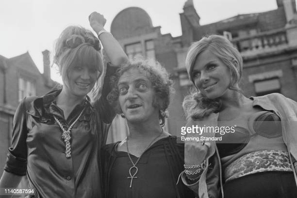 English actress and model Vicki Hodge British actor comedy writer and comedian Marty Feldman and Norwegian actress and model Julie Ege UK 31st July...