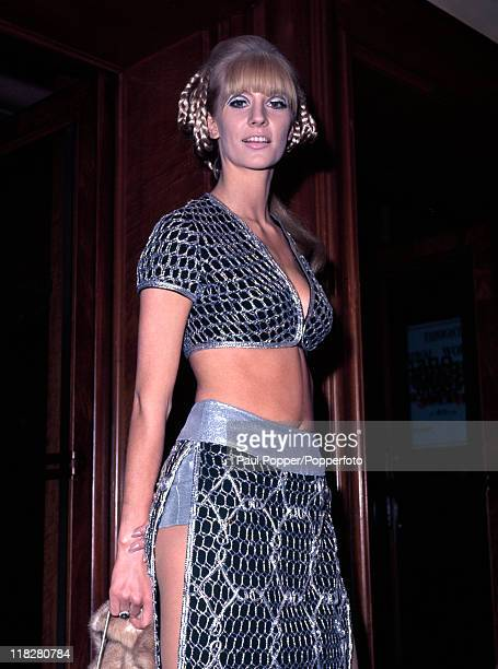 English actress and model Vicky Hodge arriving at the Odeon Cinema Leicester Square for the premiere of 'Casino Royale' circa 1967