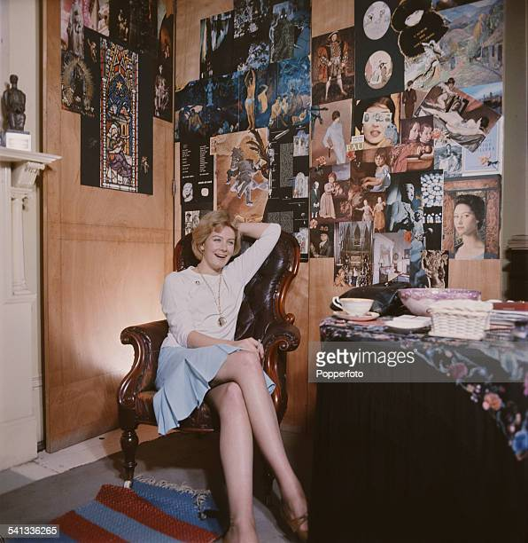 English actress and political activist Vanessa Redgrave pictured sitting in a high backed leather armchair at home in her flat in London in 1962 A...