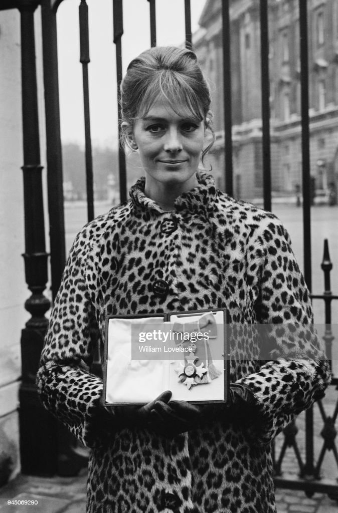 English actress and political activist Vanessa Redgrave with her CBE (Commander of the Most Excellent Order of the British Empire) after Buckingham Palace investiture, London, UK, 14th February 1968.