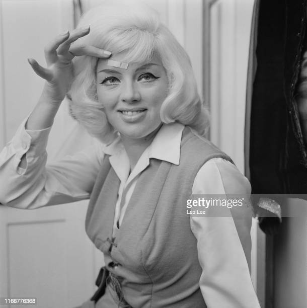 English actress and singer Diana Dors with plaster covering an injury above her eye UK 21st January 1965