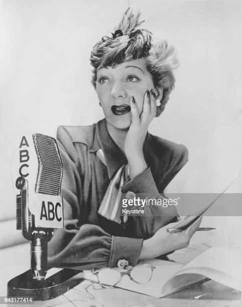 English actress and singer Gertrude Lawrence appears on the ABC radio programme 'Theatre Guild of the Air' USA 1947