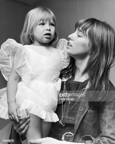 English actress and singer Jane Birkin with her daughter Kate at the Children's Dancing Matinee at the Theatre Royal Adelphi The Strand 3rd July 1970...