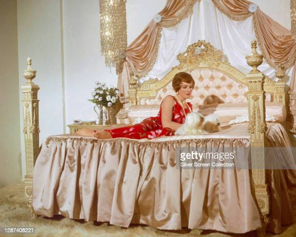 English actress and singer Julie Andrews reclines on a large bed with two dogs, in a publicity still for the 1968 film 'Star!'.