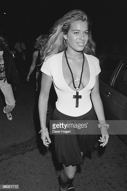 English actress and socialite Amanda De Cadenet arriving for the premiere of 'Batman' directed by Tim Burton August 1989