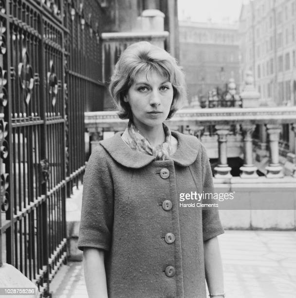 English actress Ann Lynn pictured standing outside the Royal Courts of Justice to attend a hearing during her divorce from her husband Anthony Newley...