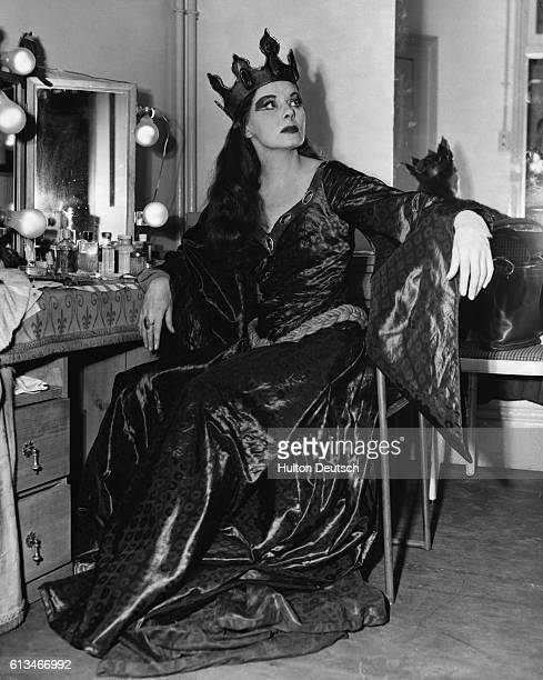 English actress Ann Todd in her dressing room at the Old Vic London 1954 Miss Todd is dressed for her role as Lady Macbeth