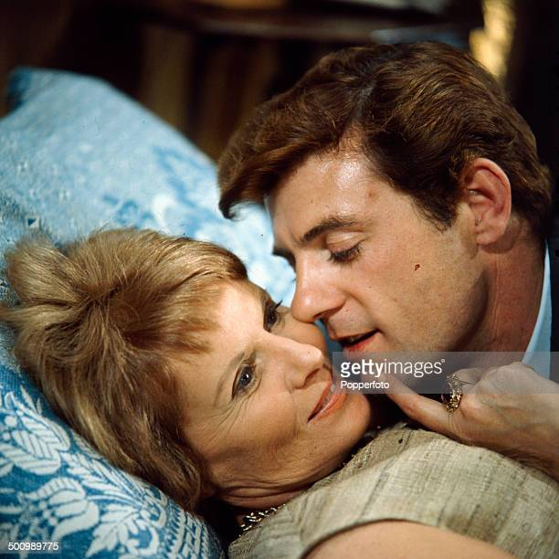 English actress Ann Todd pictured in a scene with British actor John Ronane in the television drama 'Love Story Phyllis Hammond Died Here' in 1966