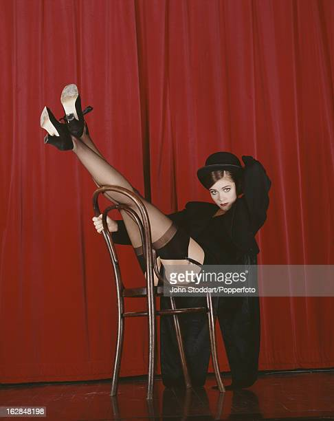English actress Anna Friel recreates the stage show from the film 'Cabaret' in 1994