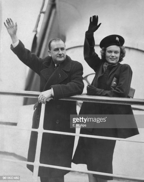 English actress Anna Neagle and director Herbert Wilcox leave Southampton on the 'Aquitania' bound for the USA to attend a screening of their film...