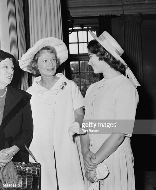 English actress Anna Neagle chats to Heather Sears at Pinewood Studios during the presentation of the Picturegoer Awards 14th August 1958 Neagle had...