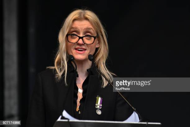 English actress AnneMarie Duff gives a speech during the March4Women event London on March 4 2018 Demonstrators march through central London today...