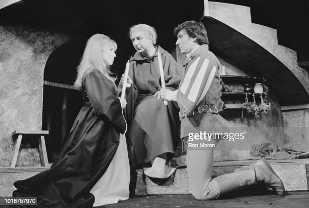 English actress author and entrepreneur Jane Asher as 'Juliet' with Gawn Grainger as 'Romeo' and English actor Frank Middlemass as 'Friar Laurence'...