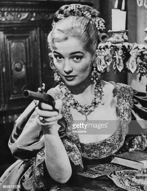 English actress Barbara Shelley in period costume for 'Lily of St. Golarre', an episode of the television series 'I Tre Moschettieri' in Rome, Italy,...