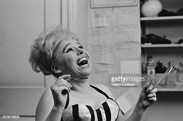English actress Barbara Windsor in her dressing room preparing for her part in 'Oh What a Lovely War' at the Broadhurst Theatre Broadway New York...