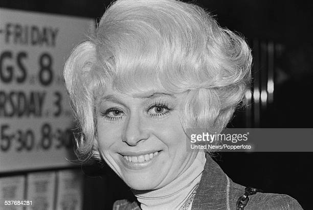 English actress Barbara Windsor pictured outside the Chichester Festival Theatre in Chichester Sussex on 11th February 1976