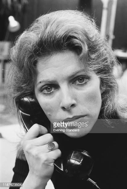 English actress Billie Whitelaw holding a telephone handset, UK, 10th February 1971.