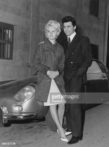 English actress Carol White with her fiancé pop singer Antonio Ciacci aka Little Tony in Rome Italy 31st March 1961