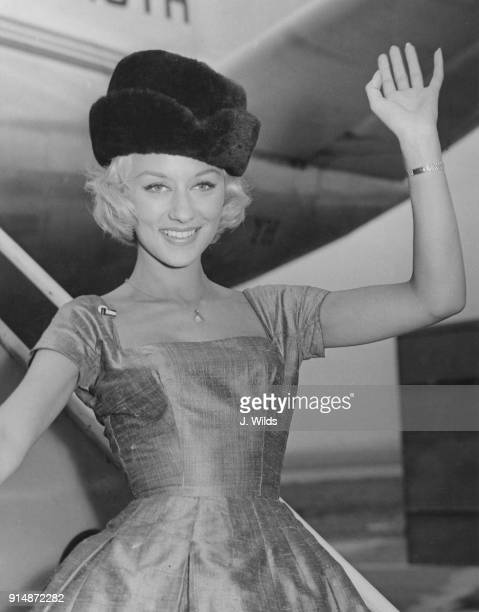 English actress Carole Lesley arrives at London Airport after attending the first ever international film festival in Moscow 10th August 1959