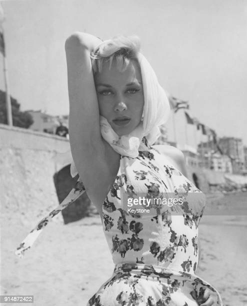 English actress Carole Lesley on the beach at Cannes France during the Cannes Film Festival 14th May 1958