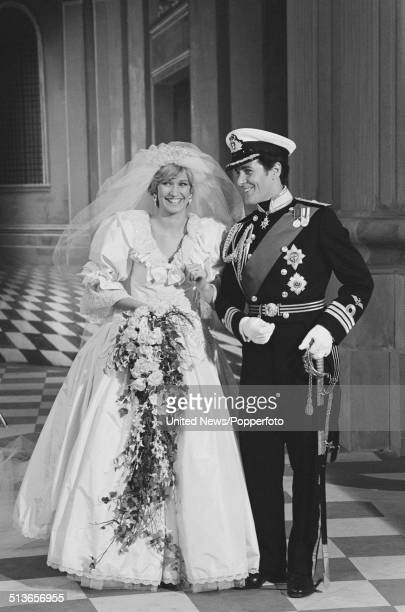 English actress Caroline Bliss and Scottish actor David Robb posed together in character as Princess Diana and Prince Charles during the shooting of...