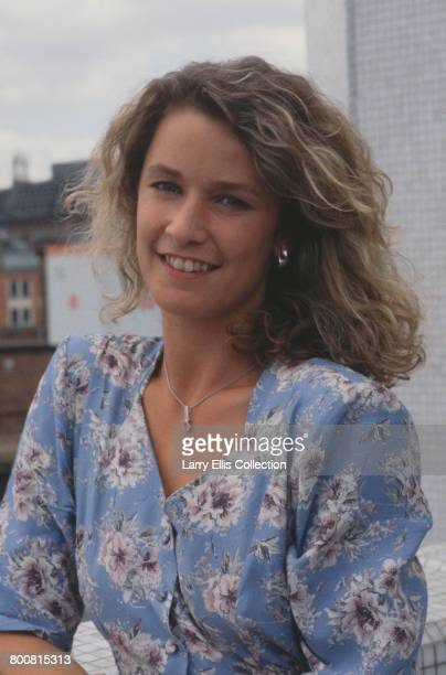 English actress Caroline Bliss, who plays the character of Sarah in the television film The Moneymen, posed in London in 1988.