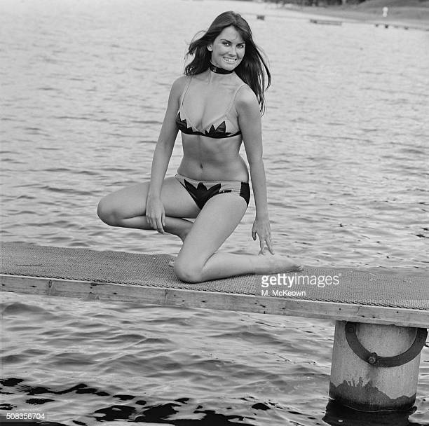 English actress Caroline Munro on the beach in Malta 26th January 1971