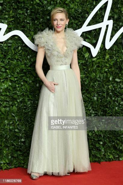 English actress Cate Blanchett poses on the red carpet upon arrival at The Fashion Awards 2019 in London on December 2 2019 The Fashion Awards are an...