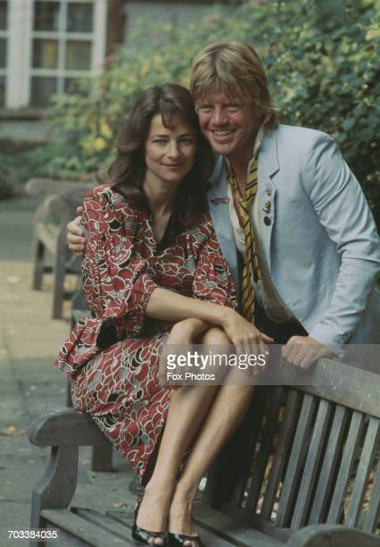 English actress Charlotte Rampling and co-star Robin Askwith in a promotional picture for the BBC Play of the Month 'Infidelities', UK, 1983.