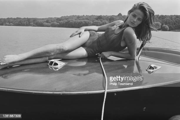 English actress Charlotte Rampling goes waterskiing at the Ruislip Lido in London, UK, 27th August 1965.