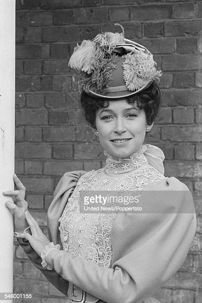 English actress Cherie Lunghi pictured dressed in character as Mary Morstan during filming of the television movie adaptation of Arthur Conan Doyle's...