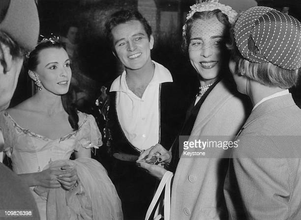 English actress Claire Bloom and Welsh actor Richard Burton meet Queen Ingrid and Princess Margrethe of Denmark, after a performance of 'Hamlet' at...