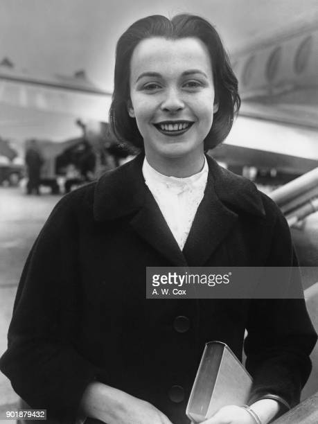 English actress Claire Bloom leaves London Airport for Switzerland where she will stay with her friends the Chaplins 7th May 1957 She is carrying a...