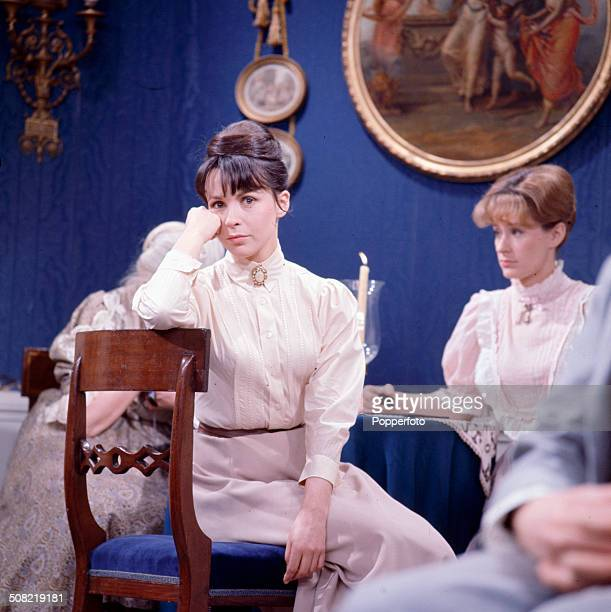 English actress Claire Bloom pictured wearing period costume on the set of the television drama series 'Play Of The Week Ivanov' in 1966