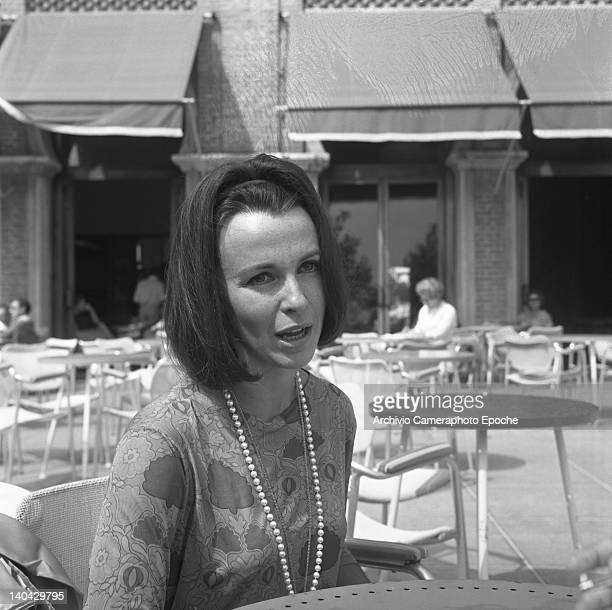 English actress Claire Bloom portrayed while talking Lido Venice 1960s