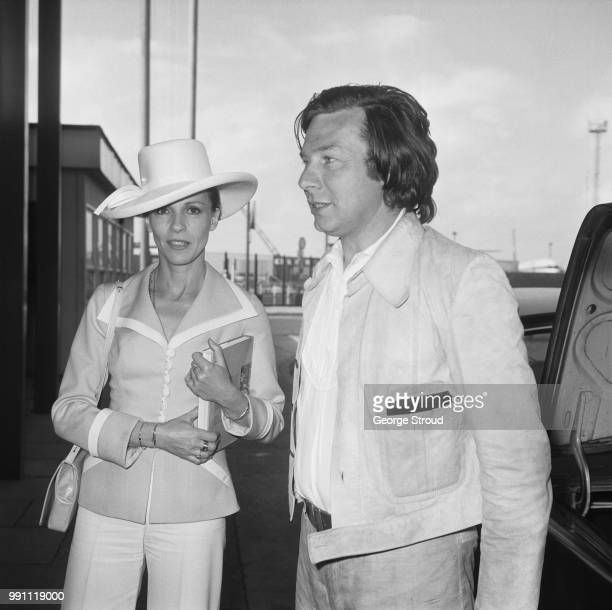 English actress Claire Bloom with British director writer and actor Patrick Garland at Heathrow Airport London UK 21st May 1973