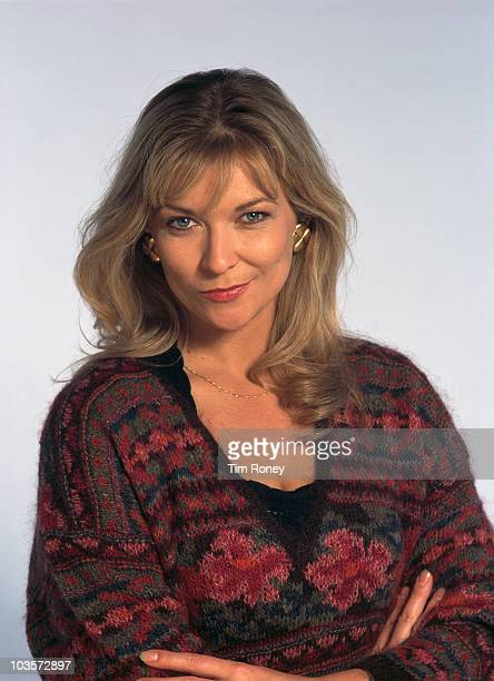 English actress Claire King, circa 1995. She played the character of Kim Tate in the TV soap opera 'Emmerdale'.