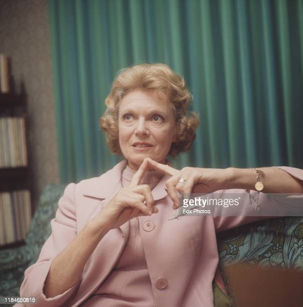 English actress Dame Anna Neagle circa 1970 She is wearing a Royal Flying Corps Sweetheart Brooch
