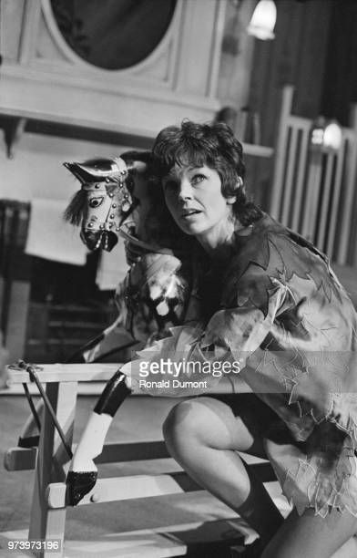 English actress Dawn Addams pictured in rehearsal preparing for her role as Peter Pan at the London Coliseum theatre in London on 22nd January 1972