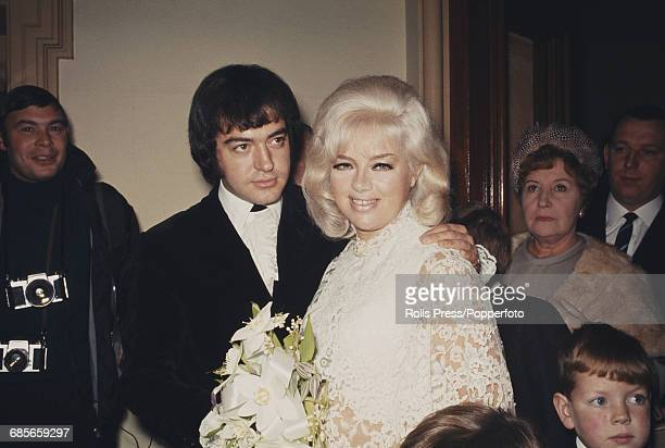 English actress Diana Dors marries her third husband, English actor Alan Lake at a wedding ceremony at Caxton Hall in Westminster, London on 23rd...