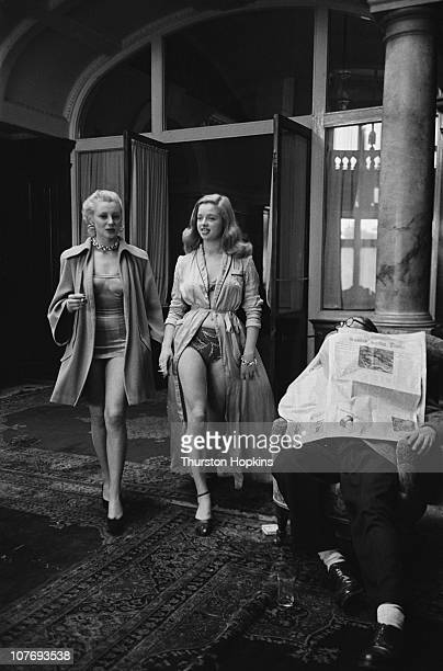 English actress Diana Dors on location at Leas Cliff Hall in Folkestone during the filming of 'Lady Godiva Rides Again' directed by Frank Launder...