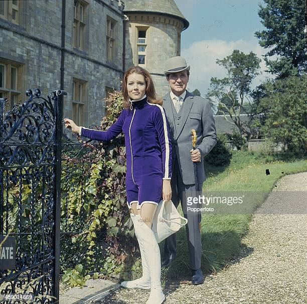1967 English actress Diana Rigg and English actor Patrick Macnee as 'Emma Peel' and 'John Steed' posed at Beaulieu on the set of the television...