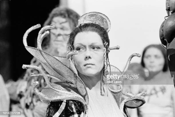 English actress Diana Rigg as Clytemnestra in 'The Serpent Son', the BBC's three-part television adaptation of Aeschylus' Oresteia trilogy of Greek...